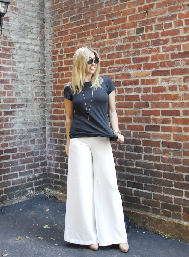 white palazzo pants, vince tee, gold bar necklace, Kate Spade Saturday sunglasses
