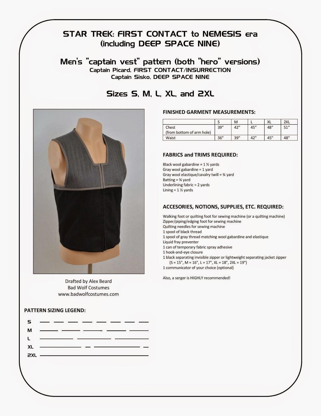 "Star Trek: DS9/NEM Men's ""Captain Vest"" Sewing Pattern"