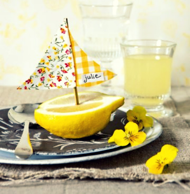 lemon sailboat place setting decor