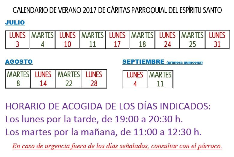 Horario Cáritas verano 2017
