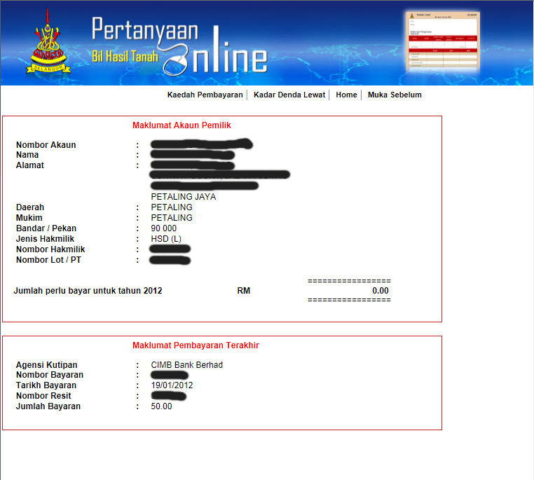 The 8th Voyager Checking The Selangor State Quit Rent Payment Status Online