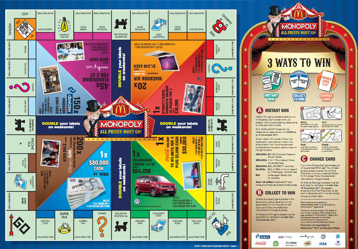 Mcdonalds Monopoly Game Board 2014 Mcdonald 39 s Monopoly Game Board
