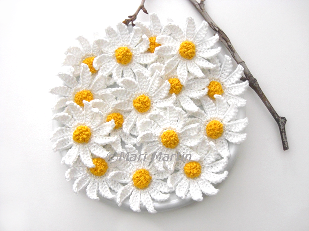 Crochet daisy flower applique crafternoon treats