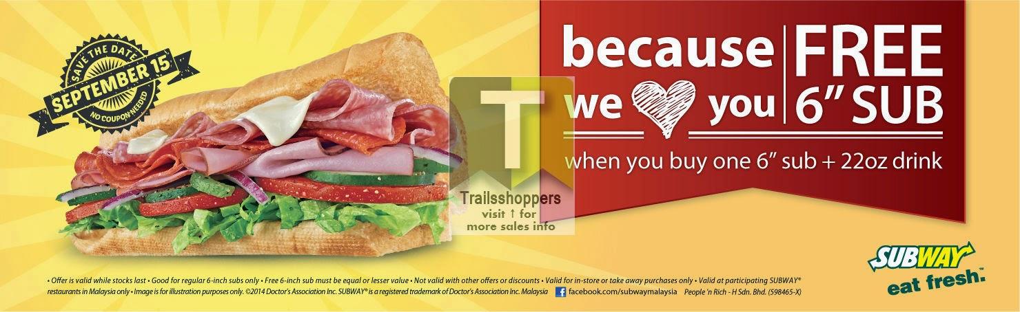 FREE Subway Sandwich Malaysia