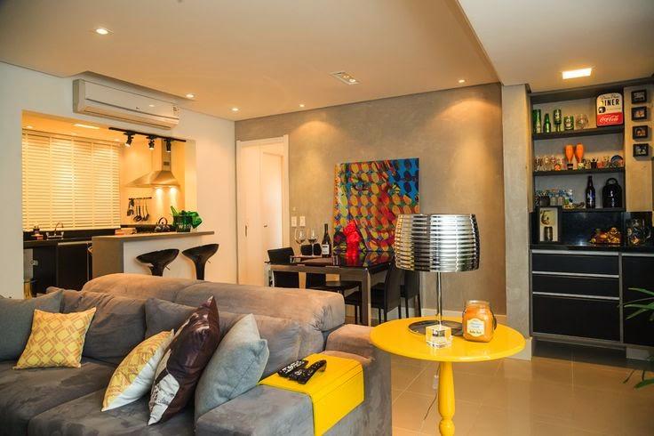 Sala De Estar Cinza Com Amarelo ~  parede cinza para se apaixonar!!  Jeito de Casa  Blog de Decoração