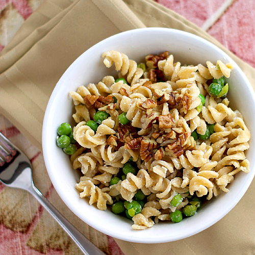 Goat Cheese Pasta with Pecans ~ Heat Oven to 350
