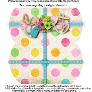Pillow box freebie and printable. property of Cassie's Creative Crafts