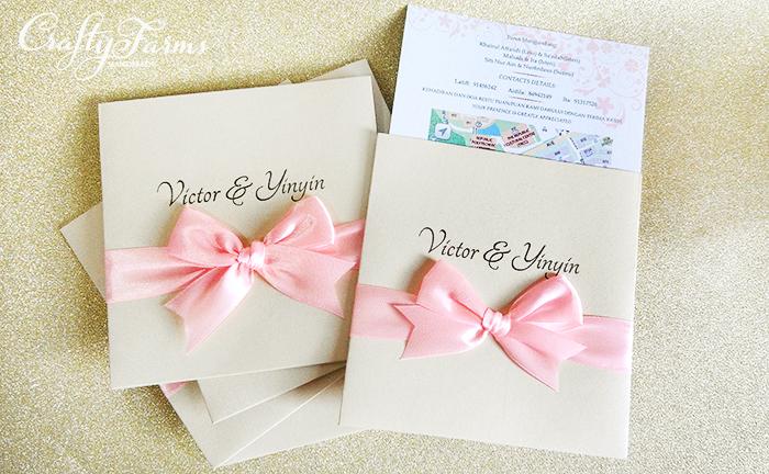 Wedding card malaysia crafty farms handmade pocket wedding pocket wedding invitation cards with pink ribbon bow kuala lumpur malaysia wedding stopboris Choice Image
