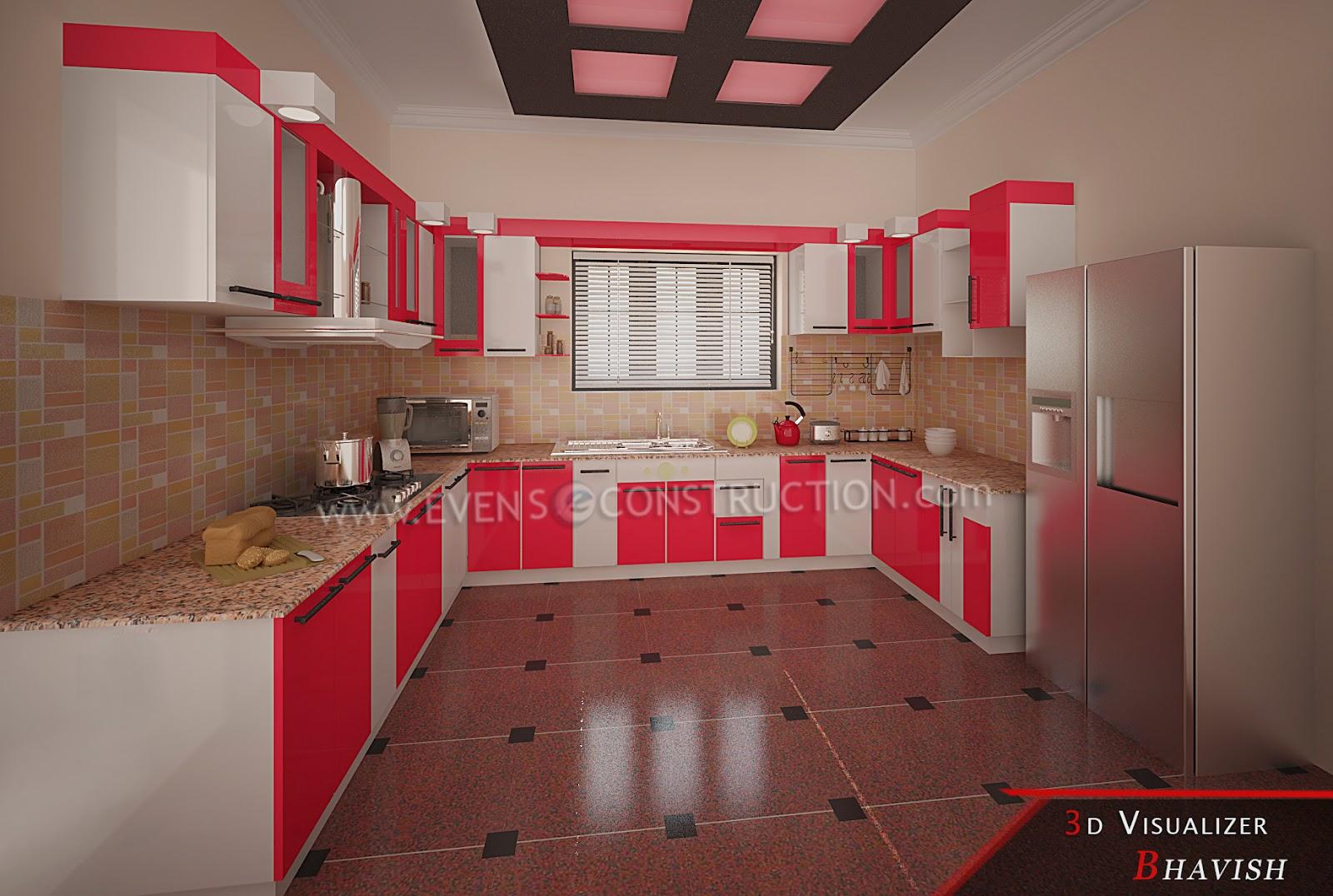 Kitchen Design Kerala Houses Evens Construction Pvt Ltd: Modern Kitchen  Interior For Kerala House