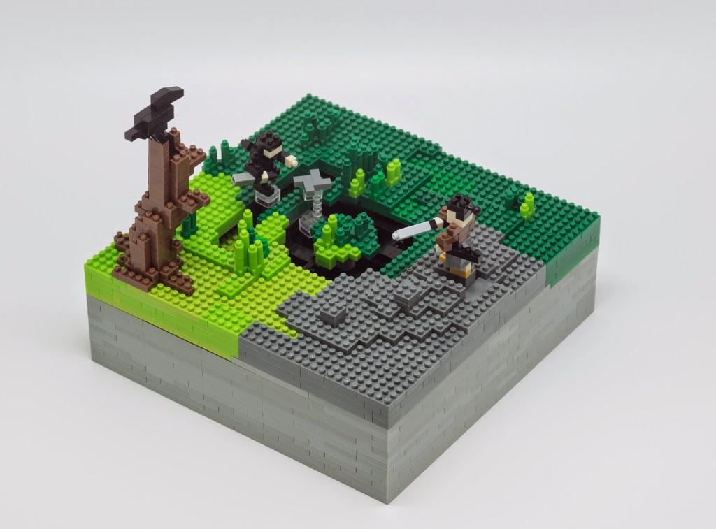 ナノブロックとnanoblock motion チョロQで作った、忍者vs侍