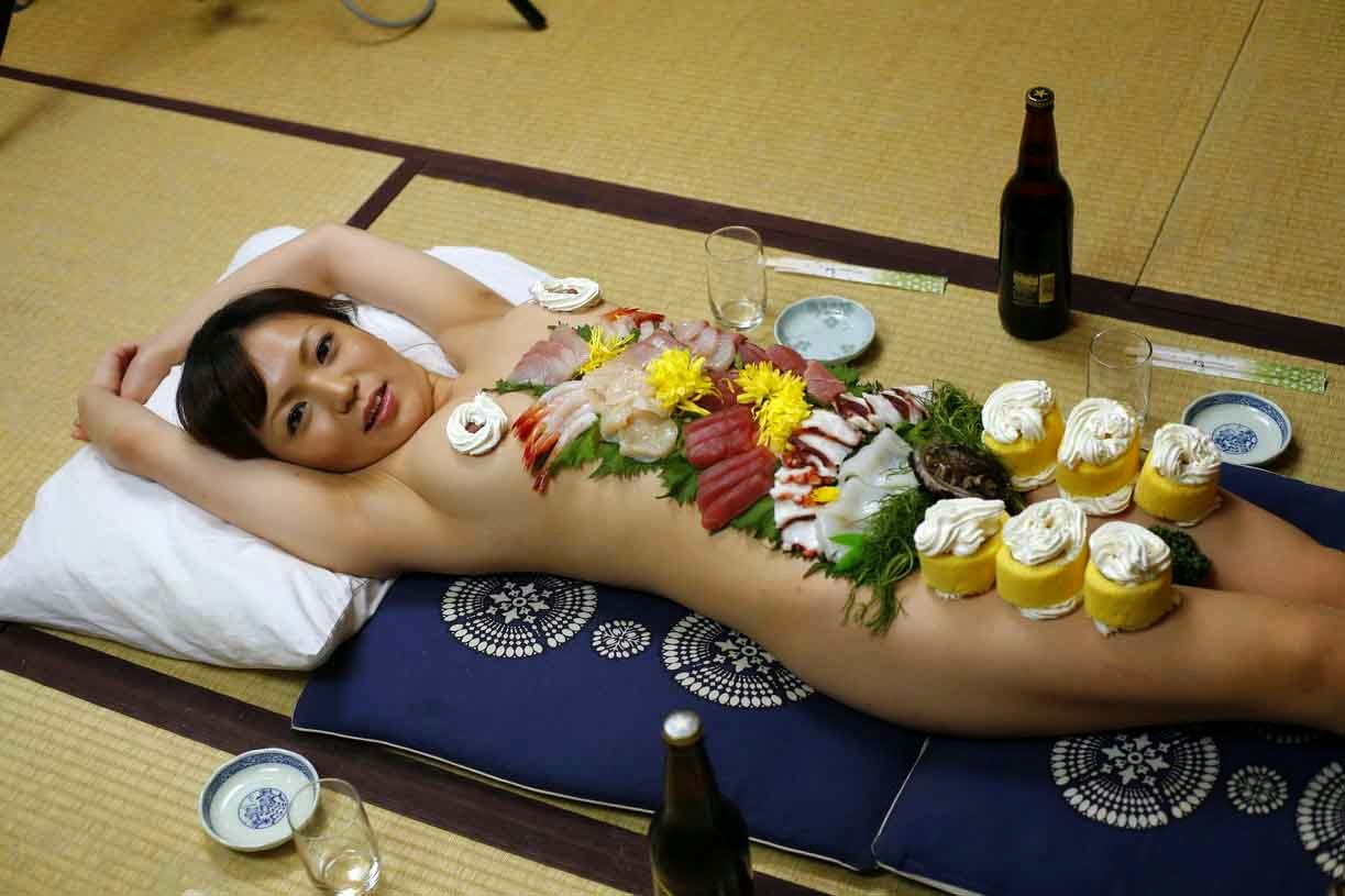 japanese food on nude girl