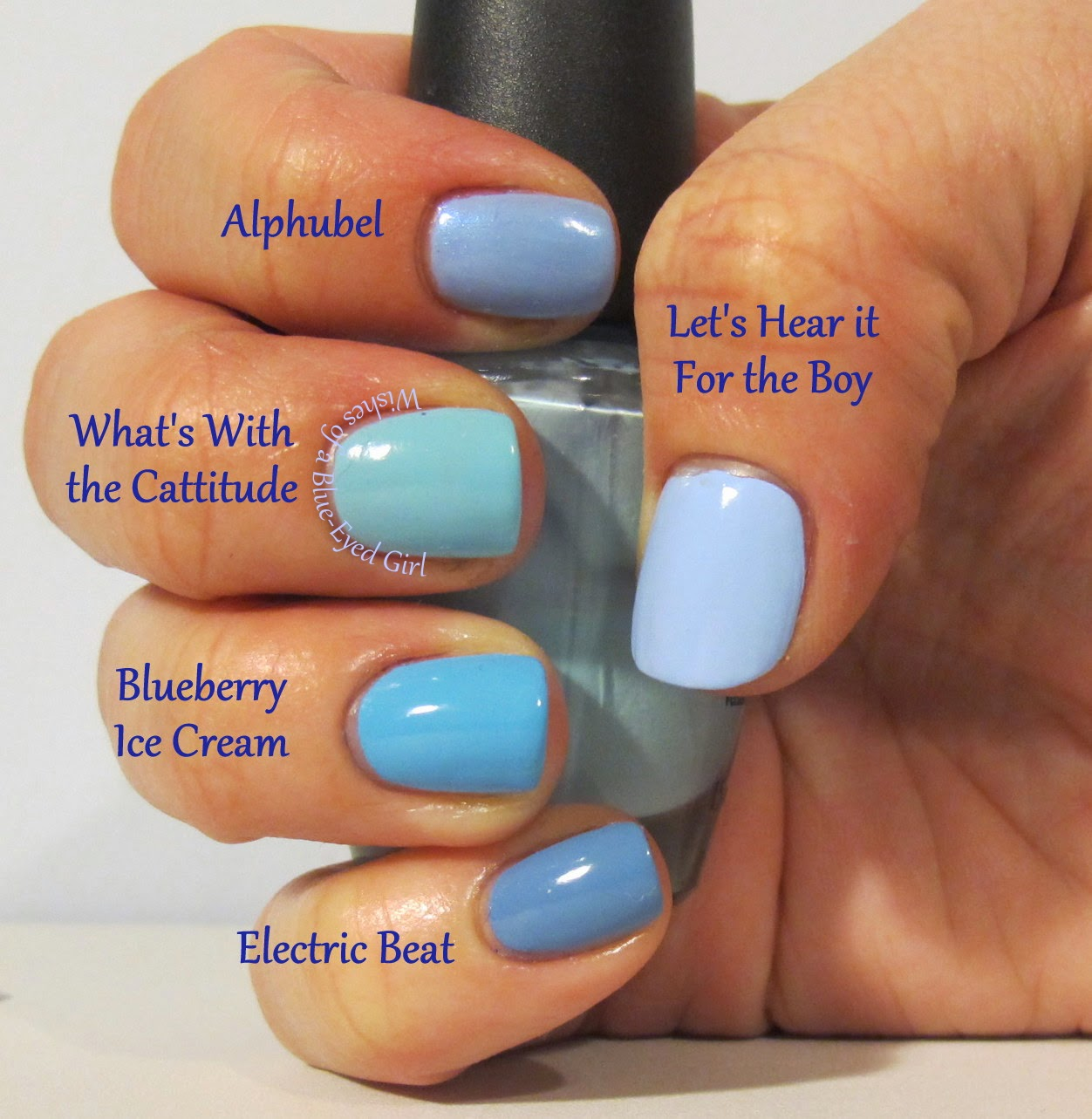 Deborah Lippmann Let S Hear It For The Boy Elevation Polish Alphubel Opi What With Catude Barrym Blueberry Ice Cream And China Glaze Electric