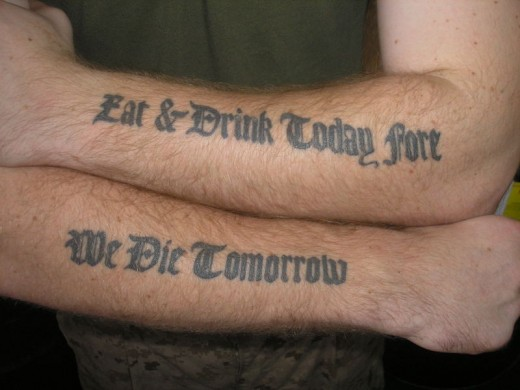 tattoos of quotes about life. quotes about life tattoos