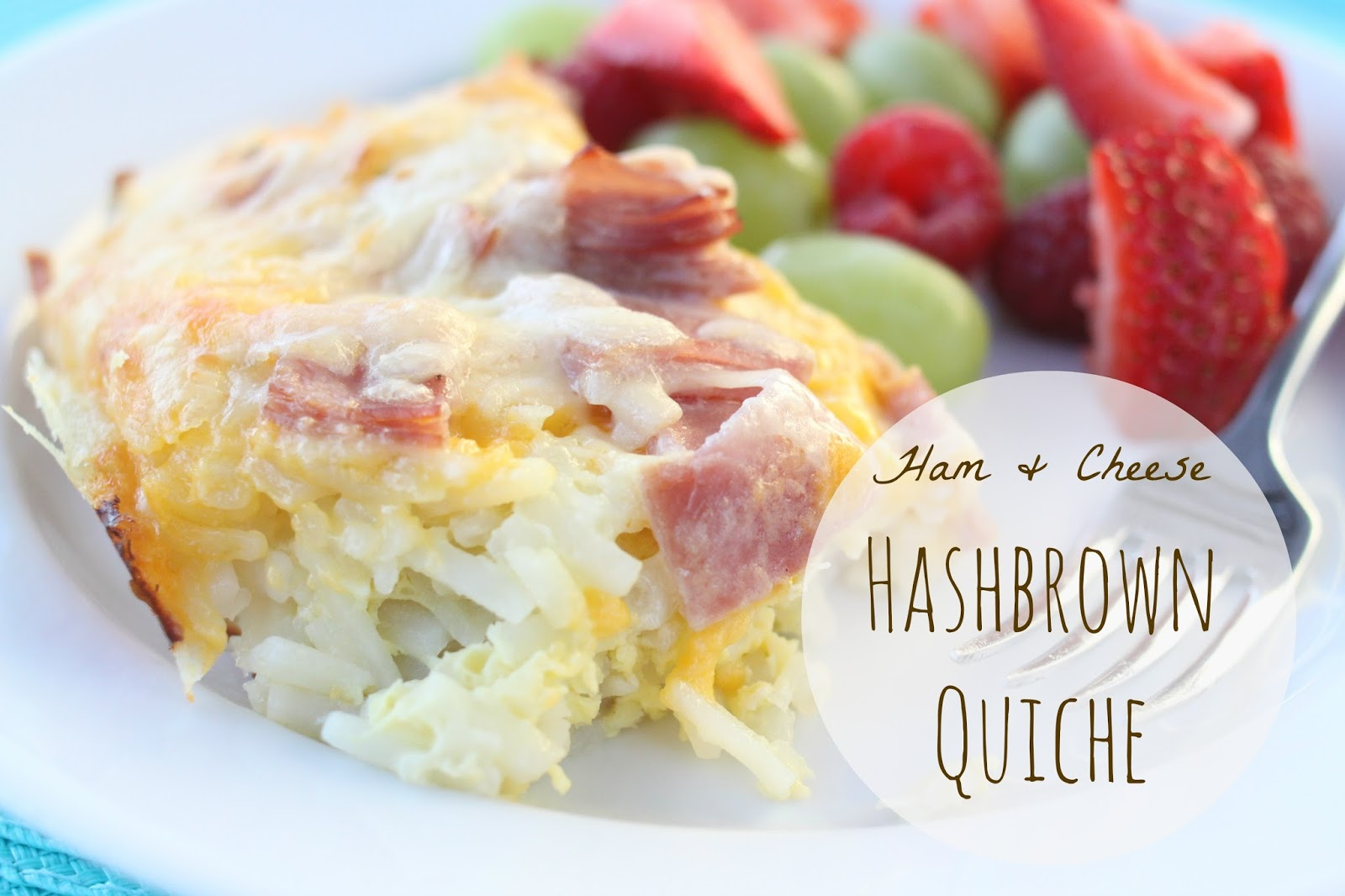 picked breakfast and I made this Ham + Cheese Hashbrown Quiche ...