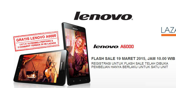 Flash Sale Lenovo A6000 Kembali Dibuka 25 Maret di Lazada