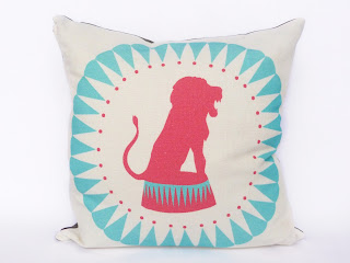 lion, neon, cushions, pillow, brights, coral, ultramarine, blue, mint, teal, circus cushions, circus pillow, linen cushion, zipper pillow, print, original, original print, screenprint, pattern, design