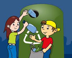 Reciclando vidrio o plástico