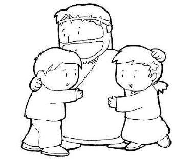 Colorear Niños con Jesús