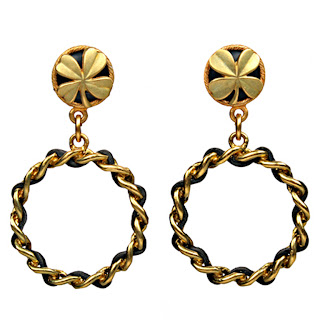 Vintage 1990's black and gold chain hoop Chanel earrings with clover detail.
