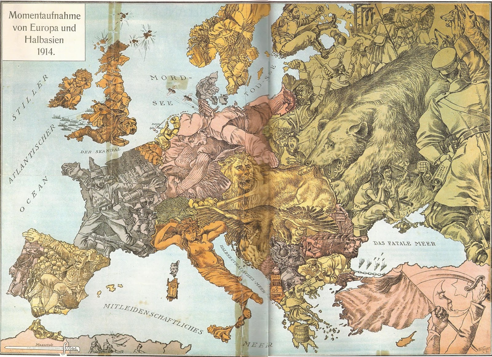 WWI satirical map of Europe