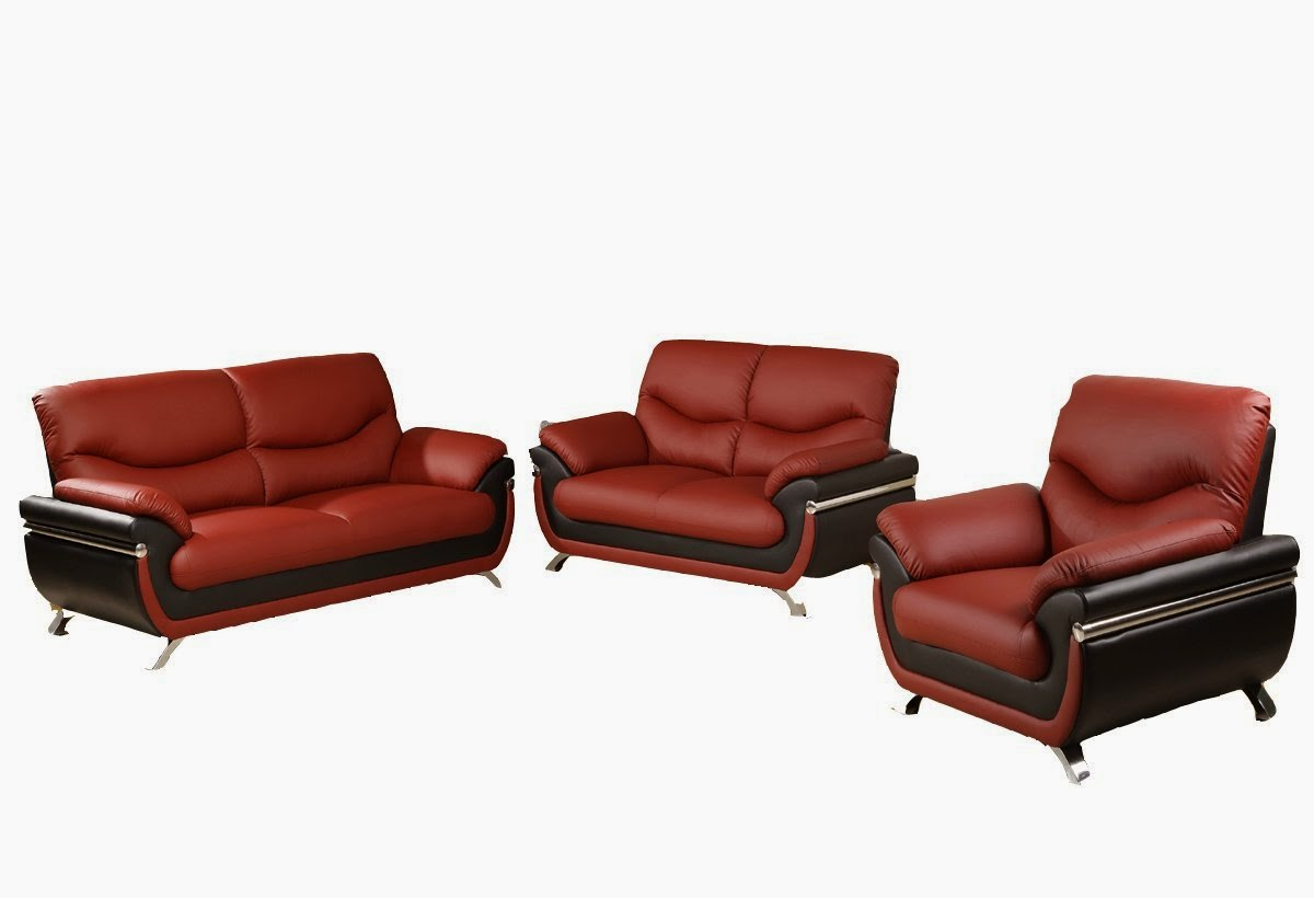 Red leather sofa red and black leather sofa for Leather sofa and loveseat