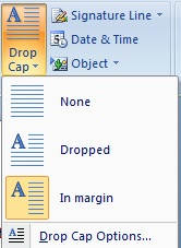 word 2007 Drop Cap