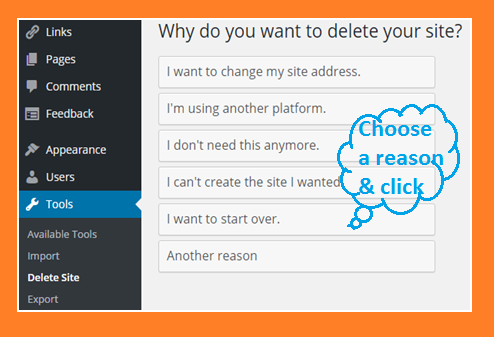 Give reason to delete wordpress blog