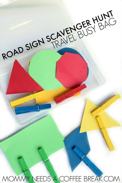 Busy bag road sign color match up for travelling with kids.