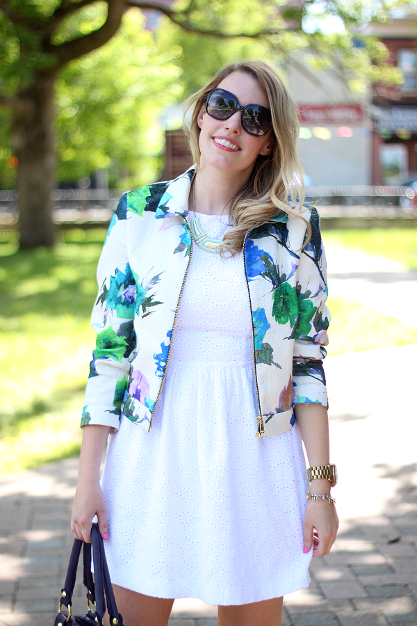 Zara Floral Watercolor Blazer, White Summer Dress