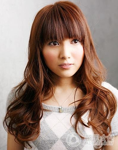cute asian hair long brown wavy with bangs