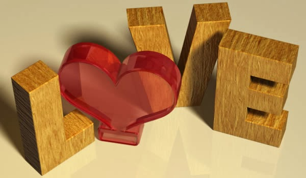 Membuat Teks 3D Valentine Dengan Tekstur Kayu.