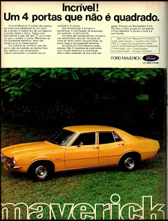 propaganda Maverick - 1974. brazilian advertising cars in the 70. os anos 70. história da década de 70; Brazil in the 70s; propaganda carros anos 70; Oswaldo Hernandez;