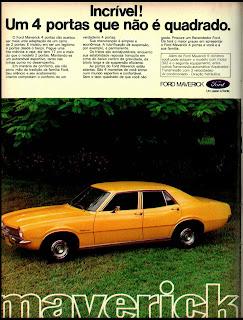 propaganda Maverick - 1974. brazilian advertising cars in the 70. os anos 70. história da década de 70; Brazil in the 70s; propaganda carros anos 70; Oswaldo Hernandez;