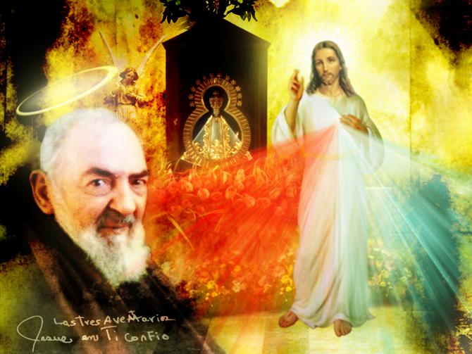 padre pio y jesus misericordioso