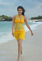 Kajal, Agarwal, Hot, Photos, at, Beach, in, yellow, dress