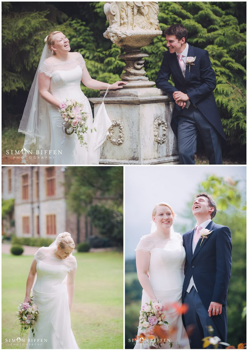 Huntsham Court wedding photography with bride and groom