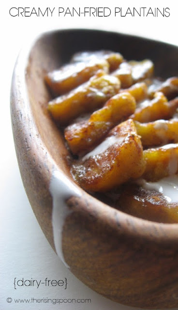 Creamy Pan-Fried Plantains with Maple Syrup & Spices | www.therisingspoon.com #dairyfree #vegan