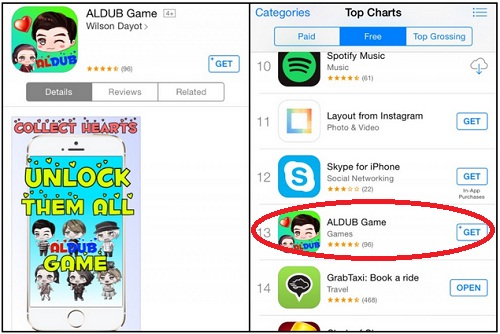 AlDub Mobile game on Apple app store