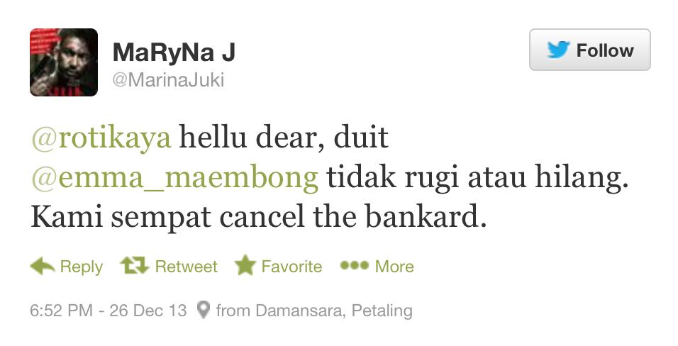 Emma Maembong Mangsa Penyeluk Saku, Kerugian Rm5000