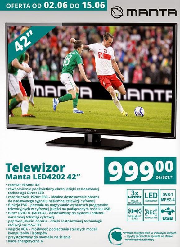 Telewizor Manta LED4202 42 cale z Biedronki ulotka