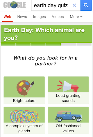 Googles Earth Day Quiz