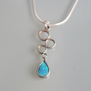 Black opal silver drop pendant necklace