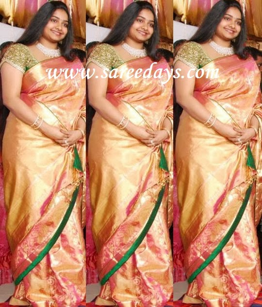 Latest saree designs pink zari work kanchipuram silk saree checkout gopichand wife pink zari work kanchipuram silk saree with rich zari work all over the saree and paired with contrast green work mega sleeves blouse thecheapjerseys Images