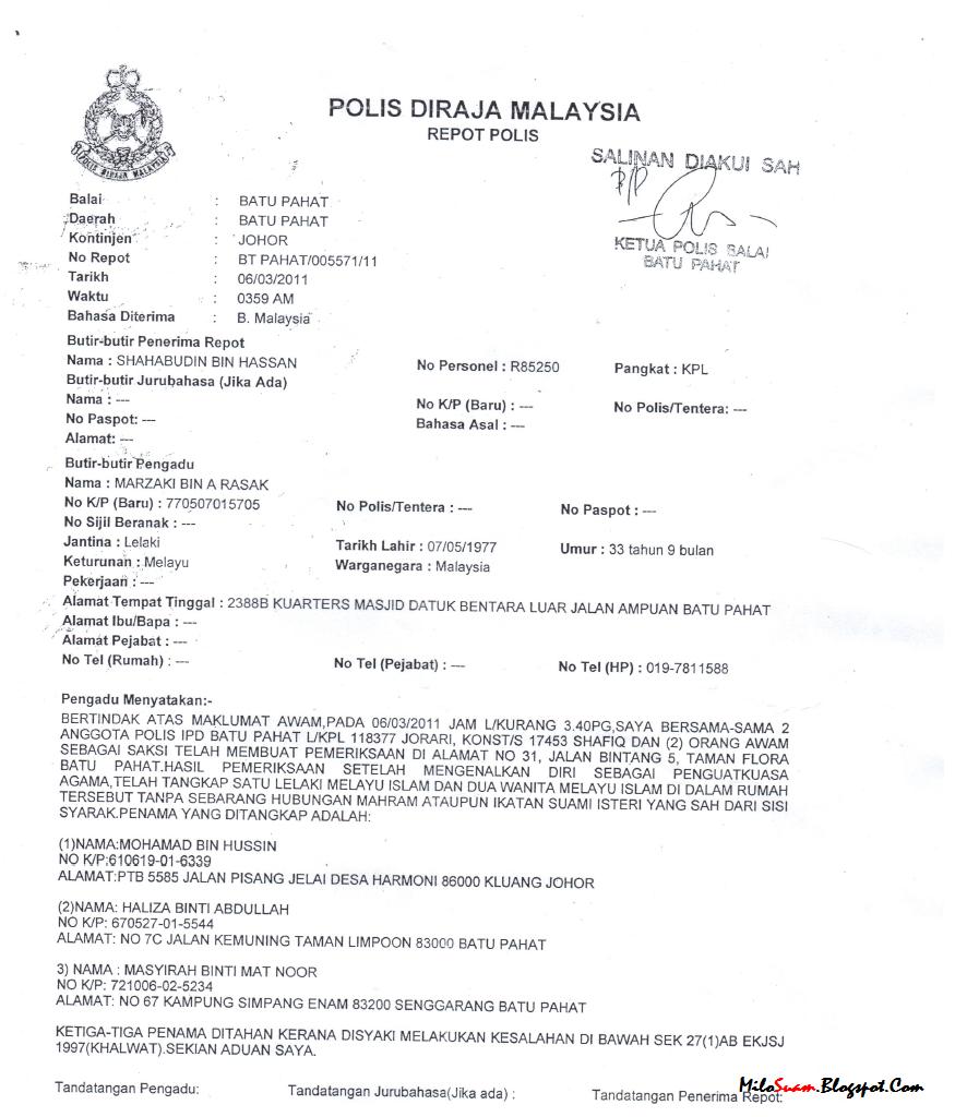 Ketua Wanita Umno Batu Pahat ditangkap khalwat!