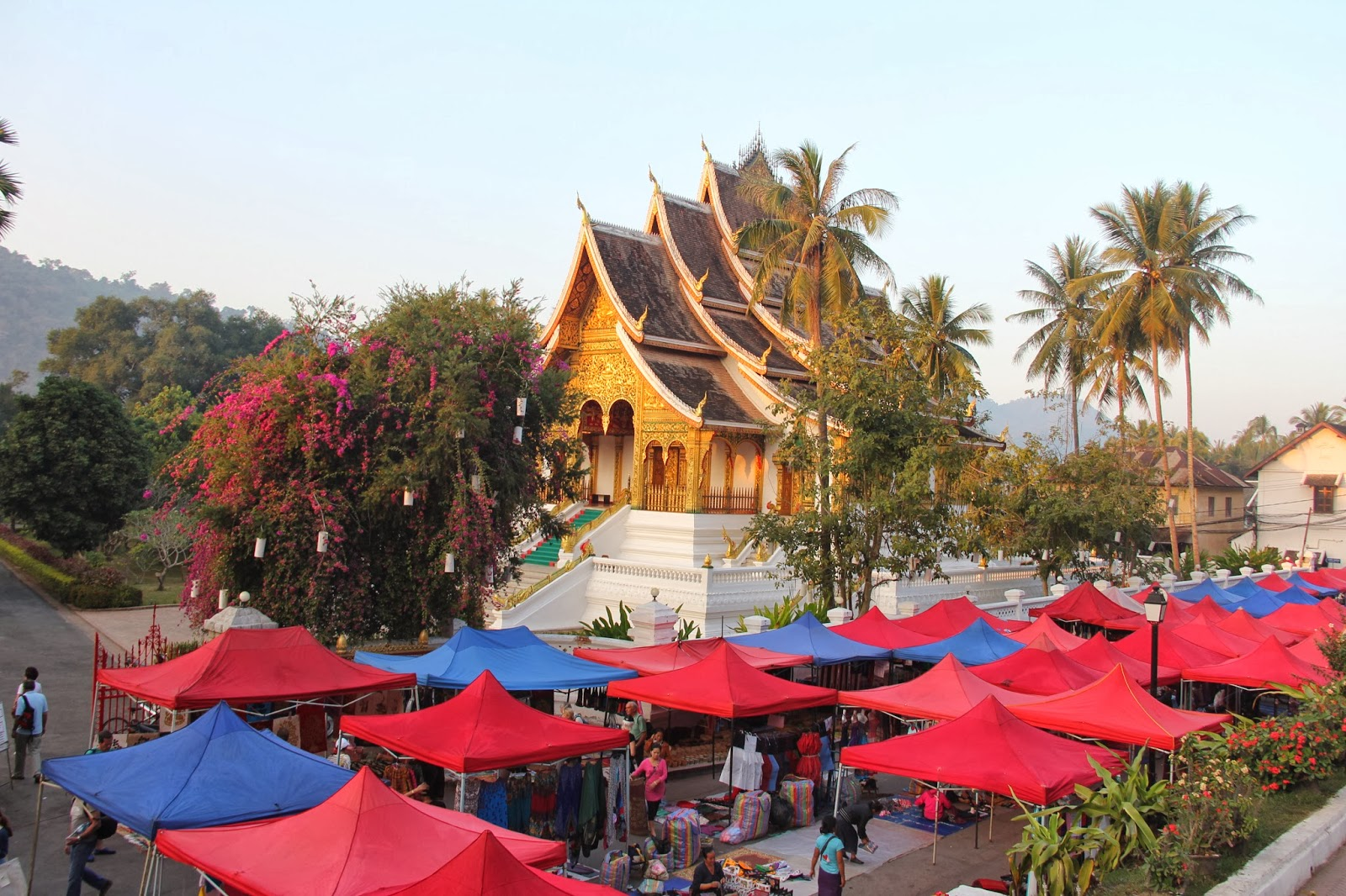 Setting up for the Night Market in Luang Prabang.
