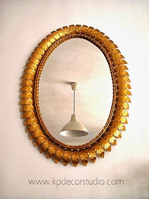 Espejos de sol dorados ovalados antiguos, originales, de pared