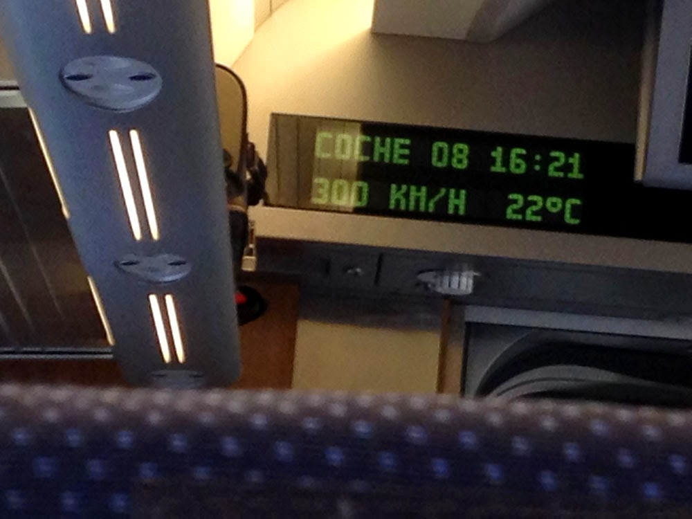 photo showing the Renfe AVE Class 102 cruising along at 300km/h, taken by Andie Gilmour somewhere between Valencia and Madrid.