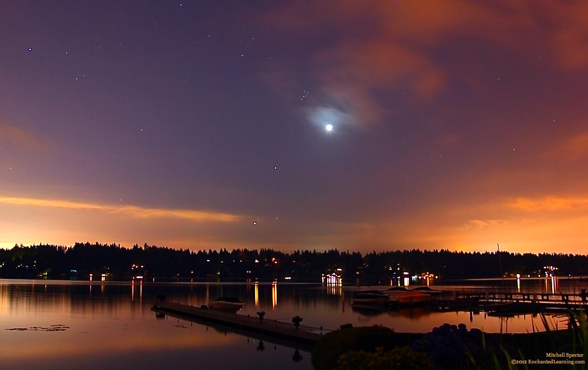 Mặt Trăng cùng tỏa sáng với sao Aldebaran, cụm sao Thất Nữ, hành tinh Mộc và hành tinh Kim trên bầu trời hồ Washington. Tác giả : Mitchell Spector.