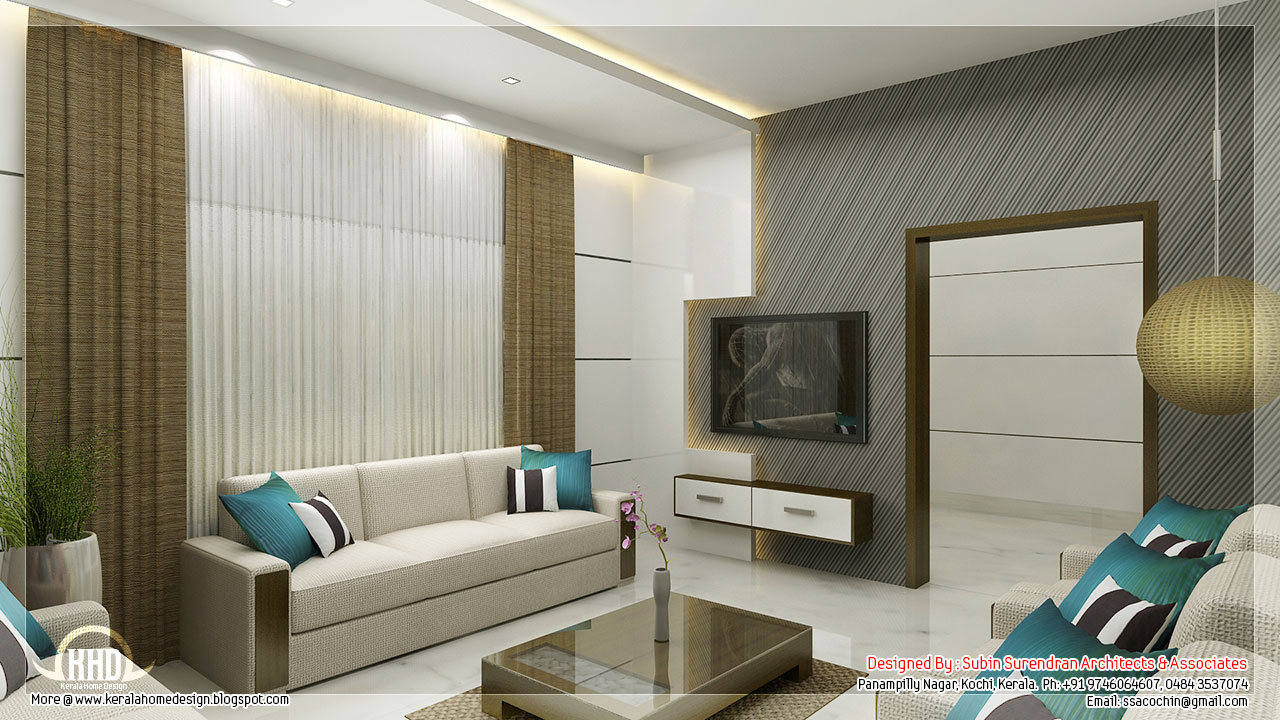 Awesome 3d interior renderings kerala house design for Kerala model interior designs
