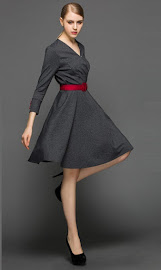 Three Quarter Sleeve Red Sleeve Button Red Belt Flare Dress